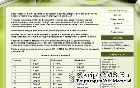 Скрипт хайпа mlm PRO 2.5 green на payeer